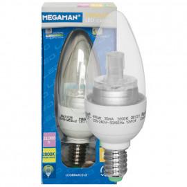 LED Lampe, Kerze, LED CLASSIC, E14 / 4W, klar, 220 lm, Megaman