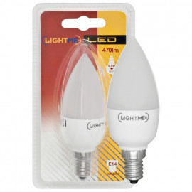 LED Lampe, Kerze, E14 / 5,5W, opal, 470 lm, Lightme