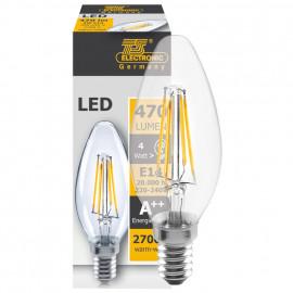 LED Fadenlampe, Kerzen Form, E14 / 4W, klar, 470 lm, TS Electronics