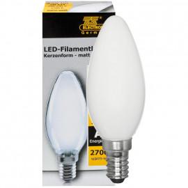 LED Fadenlampe, Kerzen Form, E14 / 2W, matt, 238 lm, TS Electronics