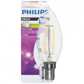 LED Lampe, Kerze, E14 / 2,3W, klar, 250 lm, Philips
