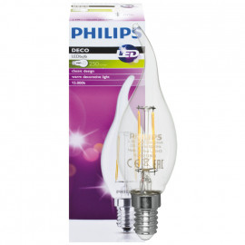 LED Lampe, Windstoßkerze, E14 / 2,3W, klar, 250 lm, Philips