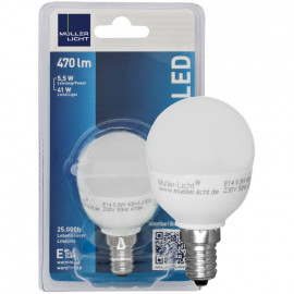 LED Lampe, Tropfen, E14 / 5,5W, opal, 470 lm, Müller Licht