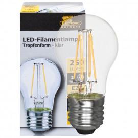 LED Fadenlampe, Tropfen Form, E27 / 2W, matt, 250 lm, TS Electronics