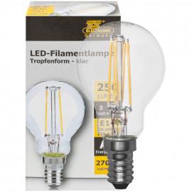 LED Fadenlampe, Tropfen Form, E14 / 2W, klar, 250 lm, TS Electronics