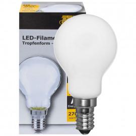 LED Fadenlampe, Tropfen Form, E14 / 4W, matt, 446 lm, TS Electronics