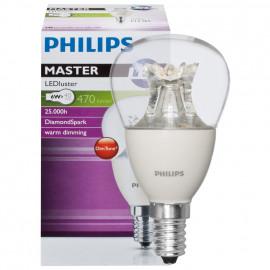 LED Lampe, Tropfen, MASTER LEDluster, E14 / 6W, klar, 470 lm, Philips