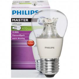 LED Lampe, Tropfen, MASTER LEDluster, E27 / 6W, klar, 470 lm, Philips