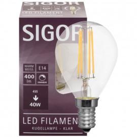 LED Fadenlampe, Tropfen, E14 / 4W, klar, 350 lm, dimmbar, Sigor