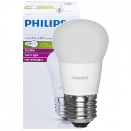 LED Lampe, Tropfen, COREPRO LEDluster, E27 / 5,5W, matt, 470 lm, Philips