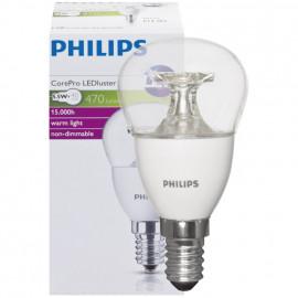 LED Lampe, Tropfen, COREPRO LEDluster, E14 / 5,5W, klar, 470 lm, Philips