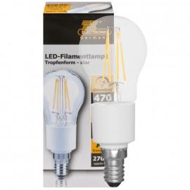 LED Fadenlampe, Tropfen, E14 / 4,5W, klar, 470 lm, TS Electronics