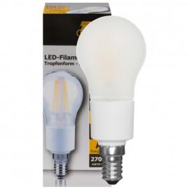 LED Fadenlampe, Tropfen, E14 / 4,5W, matt, 446 lm, TS Electronics