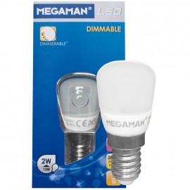 LED Lampe, Form Birne, LED CLASSIC, E14 / 2W, opal, 100 lm, Megaman