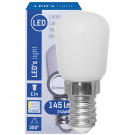 LED Lampe, Form Birne, E14 / 2W, matt, 145 lm, LED's light