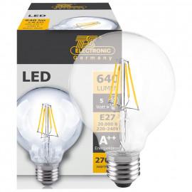 LED Fadenlampe, Globe, E27 / 5W, klar, 640 lm, TS Electronics