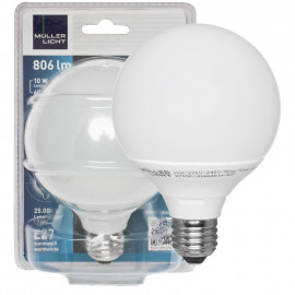 LED-Lampe, Globe, E27 / 10W, 200°, 806 lm, 2700K, Länge 135mm, Ø 95mm, Müller Licht