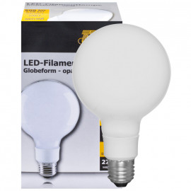 LED Fadenlampe, Globe, E27 / 5,5W, opal, 608 lm, TS Electronics
