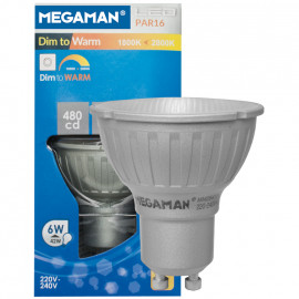 LED Lampe, Reflektor, PAR16, GU10 / 5W, 380 lm, 480cd, 1800K - 2700K, Megaman