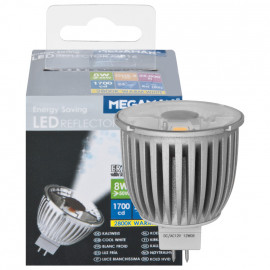 LED Lampe, Reflektor, MR16, GU5,3 / 8W, 1700cd, 2800K, Megaman