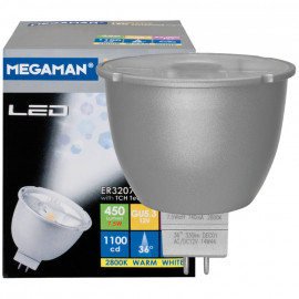 LED Lampe, Reflektor, MR16, GU5,3 / 7W, 1100cd, 2800K, Megaman