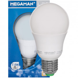 LED Lampe, AGL LED CLASSIC, E27 / 7 W, opal, 600 lm, 2800K Megaman
