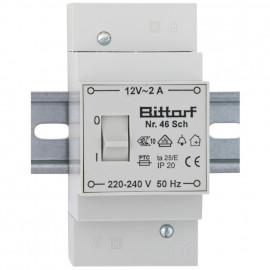 AP Klingeltrafo, auch für Reiheneinbau, mit Schalter, primär 220-240V, sekundär 12V / 2A