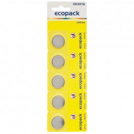 Lithium Electronic Knopfzelle auf Blisterkarte, 5 Zellen, CR2016