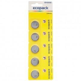 Lithium Electronic-Knopfzelle auf Blisterkarte, 5 Zellen, CR2032