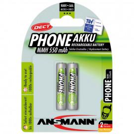 Akku, DECT, NiMh, 1,2V / 550 mAh, Micro für Telefone (Blisterware)