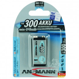 Akku, PROFESSIONAL, NiMh, 8,4V / 270 mAh, Block, 9V (Blisterware)
