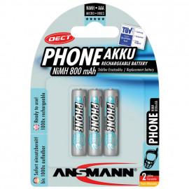 Akku, DECT, NiMh, 1,2V / 800 mAh, Micro für Telefone (Blisterware)