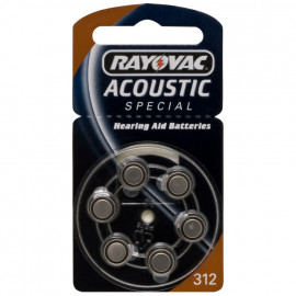 Knopfzellen für Hörgeräte, Zink/Luft, ACOUSTIC, V 312 AT, 1,4V/180 mAh - Rayovac