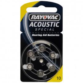Knopfzellen für Hörgeräte, Zink/Luft, ACOUSTIC, V 10 AT, 1,4V/105 mAh - Rayovac