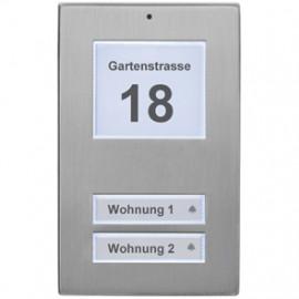 Klingeltaster Aufputz  Edelstahl, LED Beleuchtung mit Dämmerungssensor, 2 Taster