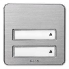 Klingeltaster Aufputz Aluminium gebürstet, 2 Taster mit Namensschild ME