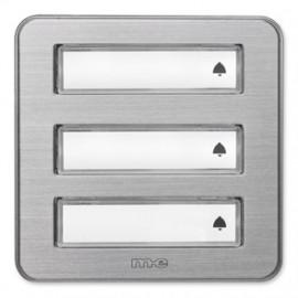 Klingeltaster Aufputz Aluminium gebürstet, 3 Taster mit Namensschild ME