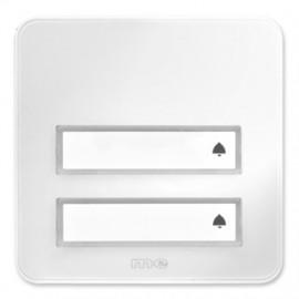 Klingeltaster Aufputz Kunststoff, Hochglanz weiß, 2 Taster mit Namensschild