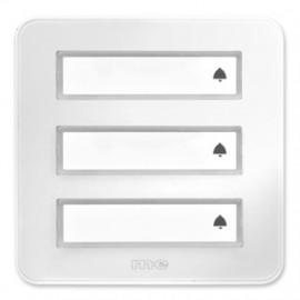 Klingeltaster Aufputz Kunststoff, Hochglanz weiß, 3 Taster mit Namensschild