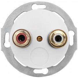 Lautsprechersteckdose Kombi, Unterputz, Stereo, Zentralplatte Duroplast weiß, THPG