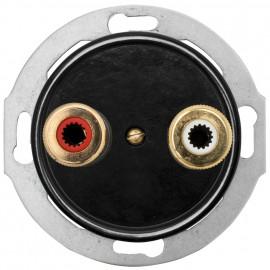 Steckdose Lautsprecher, Kombi, Unterputz, Stereo, Zentralplatte Bakelit schwarz, THPG