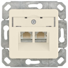Anschlussdose, Kombi AMJ45-8/8, CAT-6 mit Zentralplatte 50 x 50 mm, KLEIN LX® weiß