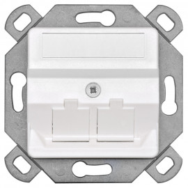 Modularadapter zur Aufnahme / weiß CAT Modulen in Kanal / Schalterdosen, 2 fach