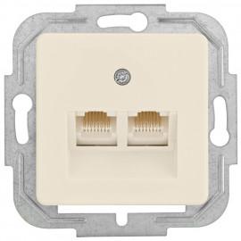 Telefonsteckdose Kombi UAE 2 x8 (8) mit Zentralplatte 50 x 50 mm, KLEIN LX® weiß