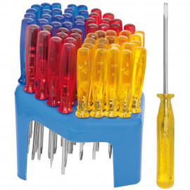 Verkaufständer mit 60 Radio-Schraubendrehern, farbig sortiert
