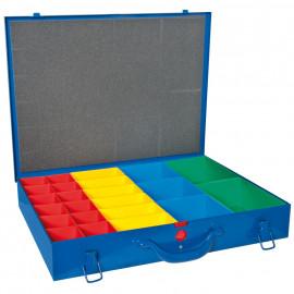 Kleinteile Magazinkoffer, 23 Insertboxen farbig sortiert