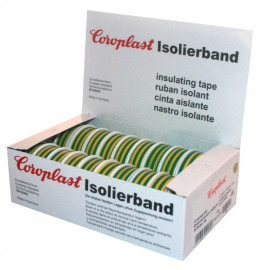 Coroplast Box PVC Isolierband Breite 15 mm, Länge 10 m Farbe grün/gelb Inhalt 20 Stück