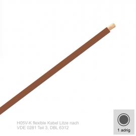 1,0 mm² einadrig H05V-K Leitung Farbe Braun 10 Meter Bund