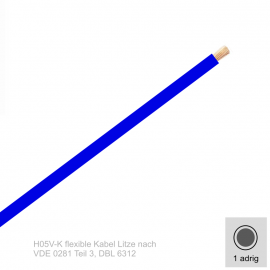 0,75 mm² einadrig H05V-K Leitung Farbe Dunkelblau 10 Meter Bund