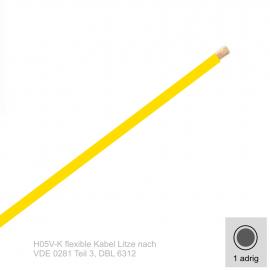 1,0 mm² einadrig H05V-K Leitung Farbe Gelb 10 Meter Bund